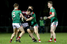Antaine Ó Laoí is tackled by Lee Keegan and Colm Boyle2/3/2019
