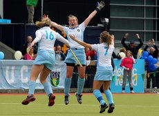 Brenda Flannery, Jeamie Deacon and Laura Wilson of UCD celebrate  13/5/2012