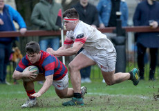 Giuseppe Coyne is unable to stop Declan Adamson of scoring a try 26/1/2019