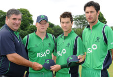 RSA Challenge Series 23/6/2010. Ireland vs West Indies A. Ireland Team Manager, Roy Torrens and captain Kevin O\'Brien present first caps to Rory McCann and Albert Van Der Merwe. Mandatory Credit ©INPHO/Presseye/Rowland White