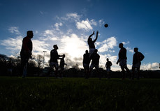 Clontarf forwards practice a line out before the game  26/1/2019