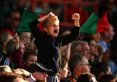 A young Mayo supporter celebrates a score 22/7/2017