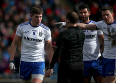 Darren Hughes and Conor McManus protest to referee Derek O'Mahoney 24/3/2019