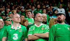 Ireland fans dejected late in the game 6/9/2018