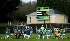 The Leitrim team warm down with the final score from the penalty shoot out on the scoreboard  6/1/2019