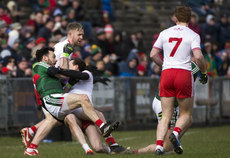 Tom Parsons is pulled to the ground by Colm Kavanagh earning the Tyrone man a black card 18/3/2018