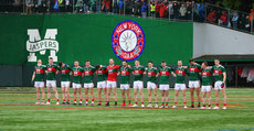 The Mayo team stand for a minutes silence 5/5/2019