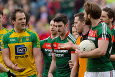 Aidan O'Shea exchanges words with Michael Murphy at the final whistle 2/4/2017