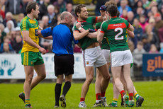Tom Parsons, Brendan Harrison and Michael Murphy tussle at the final whistle 2/4/2017