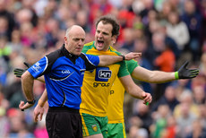 Michael Murphy argues with Cormac Reilly after he awards Mayo a penalty 2/4/2017