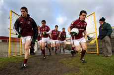 Niall Coleman and Declan Meehan lead the team out for the start of the game 17/1/2010