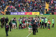 Mayo players celebrate after the final whistle 17/6/2018