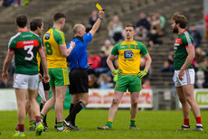 Cormac Reilly issues a yellow card to Aidan O'Shea and Ciaran Thompson 2/4/2017