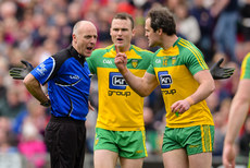 Michael Murphy argues with Cormac Reilly after the award of a penalty 2/4/2017