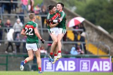 Liam Hughes, Cathal Horan and Ross Egan celebrate at the final whistle 17/6/2018