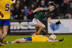 Sean McDermott lies injured after being tackled by Fergal Boland 25/2/2017