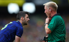 Brendan Harrison and referee Ciaran Branagan 21/7/2019