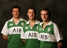 Ireland AIB Club Rugby Team 6/3/2006. Ulster club players Simon Shaw, Glen Telford and Garth Steenson who will be playing in the AIB Club International against Scotland on Friday. Mandatory Credit ©INPHO/Billy Stickland