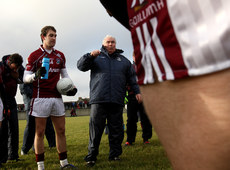 FBD Insurance League 17/1/2010. Galway  . Manager Joe Kernan speaks with his players before the game. Mandatory Credit ©INPHO/James Crombie