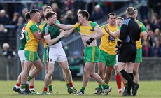 Mayo and Donegal players scuffle during the game 25/3/2018