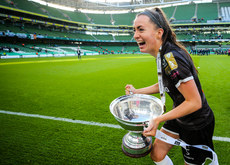 Lauren Dwyer celebrates with the trophy after the game 3/11/2019