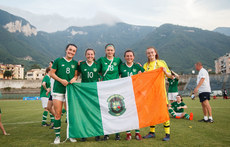 Niamh Farrelly, Eleanor Ryan Doyle, Lauryn O'Callaghan, Megan Lynch and Naoisha McAloon celebrate after the game 7/7/2019