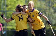 Alan Sothern celebrates his goal with Conor Harte and Andrew McConnell 16/5/2010
