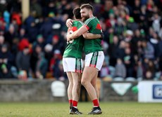 Aidan O'Shea celebrates after the game with Kevin McLoughlin 25/3/2018